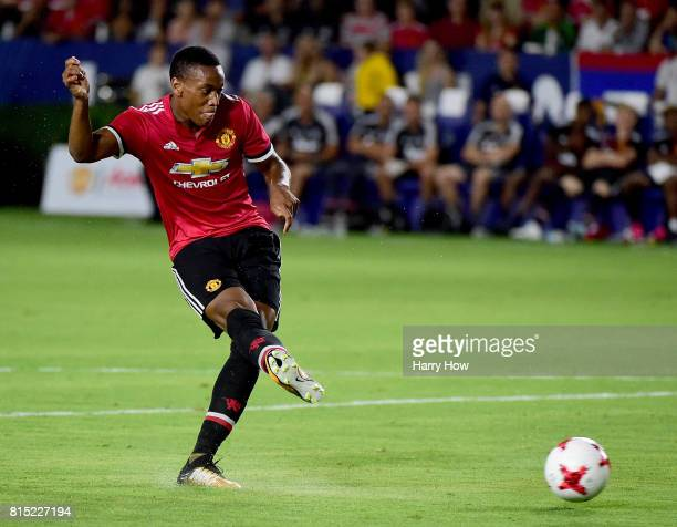 Anthony Martial of Manchester United scores to take a 50 lead over the Los Angeles Galaxy during the second half at StubHub Center on July 15 2017 in...