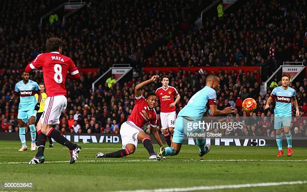Anthony Martial of Manchester United shoots at goal during the Barclays Premier League match between Manchester United and West Ham United at Old...