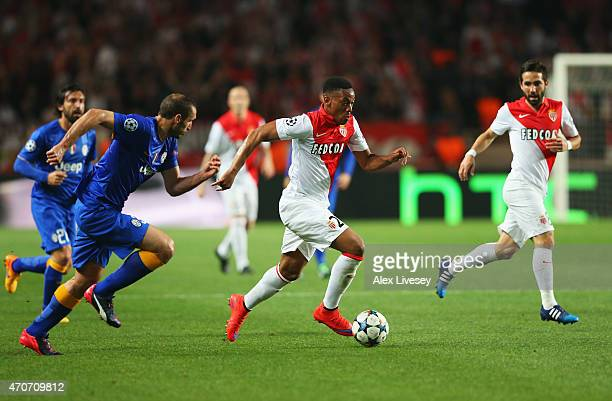 Anthony Martial of Monaco goes past Giorgio Chiellini of Juventus during the UEFA Champions League quarterfinal second leg match between AS Monaco FC...