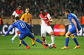 Anthony Martial of Monaco is closed down by Andrea Barzagli and Claudio Marchisio of Juventus during the UEFA Champions League quarterfinal second...