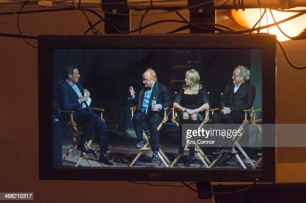 Anthony Mason Peter Asher Pattie Boyd and Mick Jones attend '50 Years The Beatles' panel discussion at Ed Sullivan Theater on February 9 2014 in New...