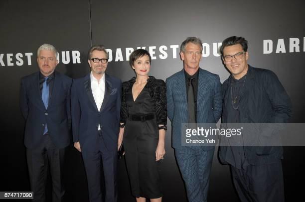 Anthony McCarten Gary Oldman Kristin Scott Thomas Ben Mendelsohn and Joe Wright attend 'Darkest Hour' New York premiere at Paris Theatre on November...