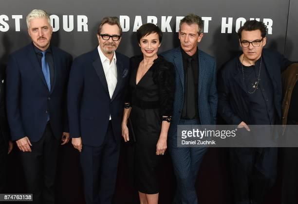 Anthony McCarten Gary Oldman Kristin Scott Thomas Ben Mendelsohn and Joe Wright attend the 'Darkest Hour' New York Premiere at Paris Theatre on...