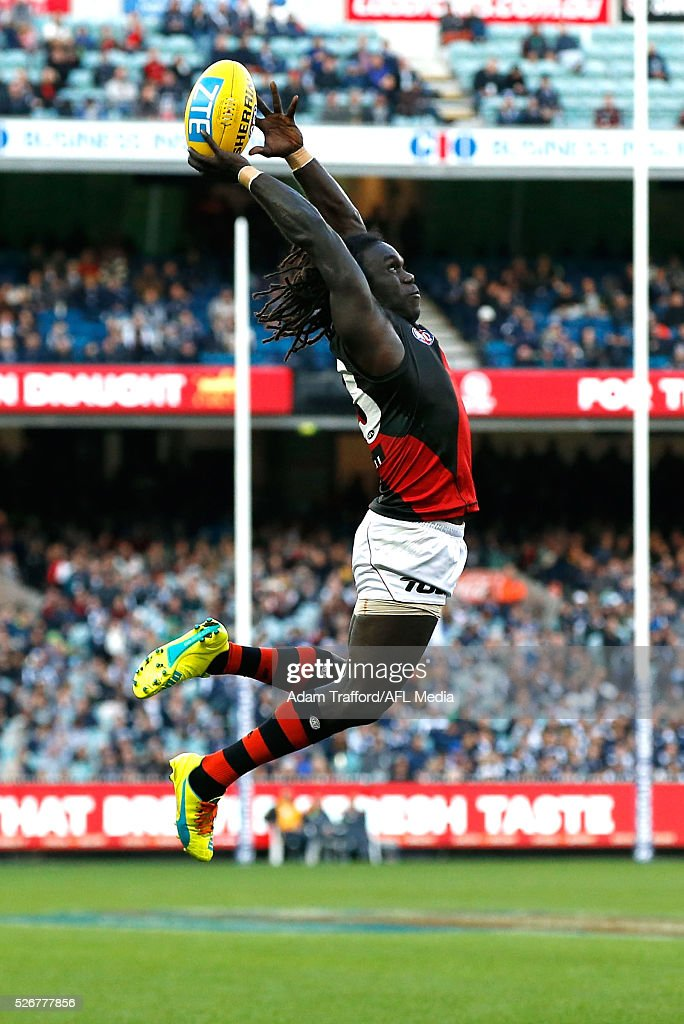 Anthony McDonald-Tipungwuti of the Bombers attempts to mark the ball during the 2016 AFL Round 06 match between the Carlton Blues and the Essendon Bombers at the Melbourne Cricket Ground, Melbourne on May 1, 2016.