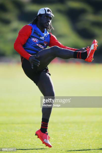 Anthony McDonaldTipungwuti of the Bombers kicks the ball during an Essendon Bombers AFL training session at True Value Centre on June 20 2017 in...