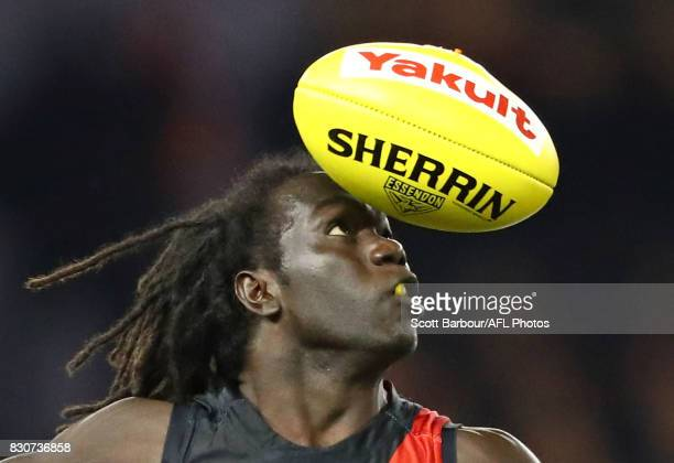 Anthony McDonaldTipungwuti of the Bombers runs with the ball during the round 21 AFL match between the Essendon Bombers and the Adelaide Crows at...
