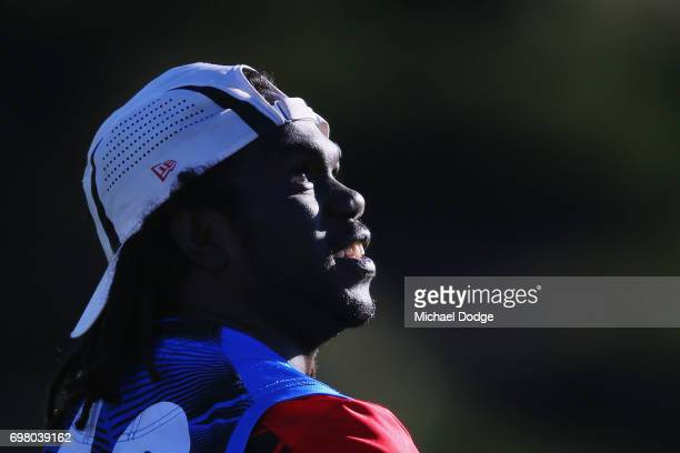 Anthony McDonaldTipungwuti of the Bomberslooks upfield during an Essendon Bombers AFL training session at True Value Centre on June 20 2017 in...