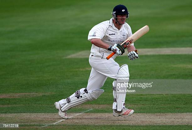 Anthony McGrath of Yorkshire in action during day two of the Liverpool Victoria County Championship division one match between Warwickshire and...