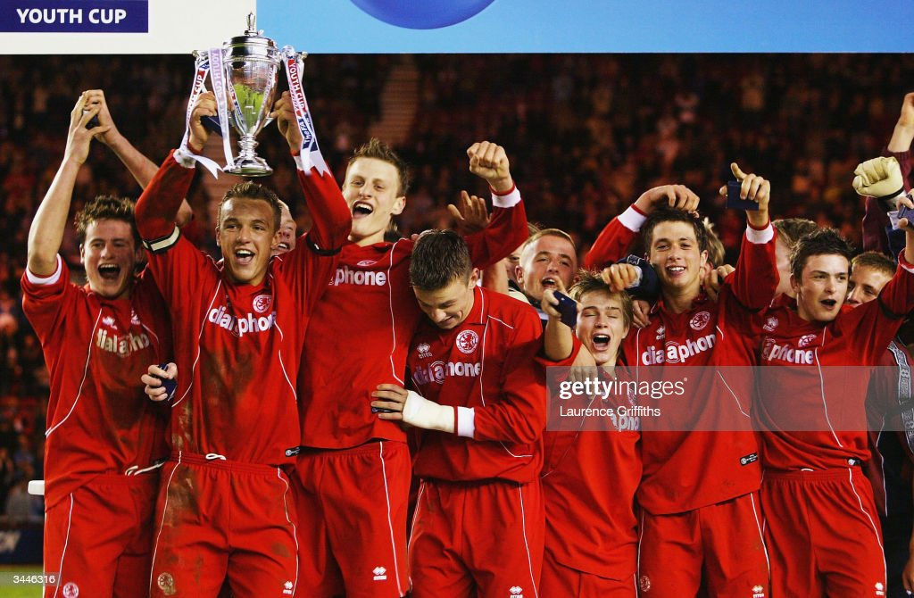 Anthony McMahon of Middlesbrough holds the Cup aloft with his team after winning the FA Youth Cup Final 2nd Leg match between Middlesbrough and Aston...