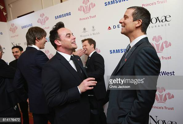 Anthony McPartlin and Bear Grylls share a joke as they attend The Prince's Trust Celebrate Success Awards at London Palladium on March 7 2016 in...
