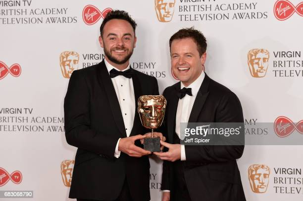 Anthony McPartlin and Declan Donnelly aka Ant and Dec accepting the Live Event award for The Queens 90th Birthday Celebration in the Winner's room at...