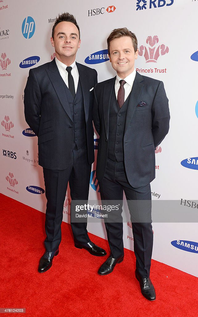 Anthony McPartlin (L) and <a gi-track='captionPersonalityLinkClicked' href=/galleries/search?phrase=Declan+Donnelly&family=editorial&specificpeople=206200 ng-click='$event.stopPropagation()'>Declan Donnelly</a> aka Ant and Dec attend The Prince's Trust & Samsung Celebrate Success Awards at Odeon Leicester Square on March 12, 2014 in London, England.