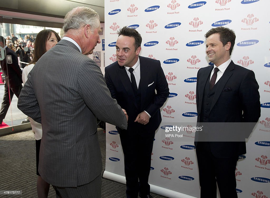 Anthony McPartlin and Declan Donnelly aka Ant and Dec meet Prince Charles, Prince of Wales at the Prince's Trust & Samsung Celebrate Success awards at Odeon Leicester Square on March 12, 2014 in London, England.