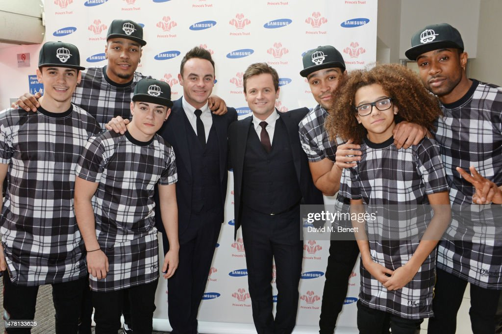 Anthony McPartlin (4L) and <a gi-track='captionPersonalityLinkClicked' href=/galleries/search?phrase=Declan+Donnelly&family=editorial&specificpeople=206200 ng-click='$event.stopPropagation()'>Declan Donnelly</a> (4R) aka Ant and Dec pose with members of British dance troop Diversity at The Prince's Trust & Samsung Celebrate Success Awards at Odeon Leicester Square on March 12, 2014 in London, England.