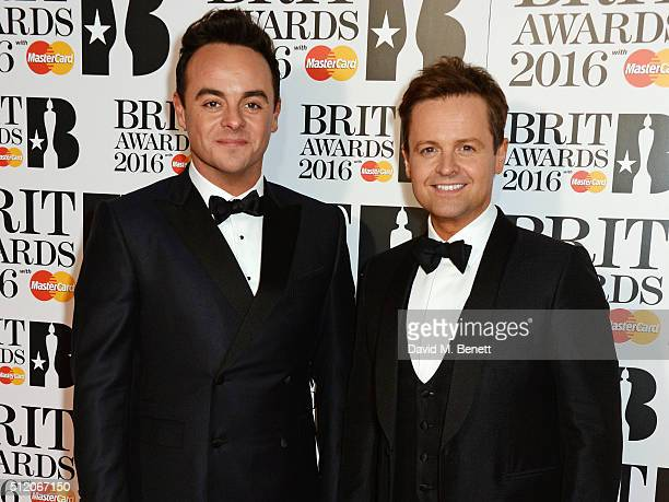 Anthony McPartlin and Declan Donnelly aka Ant Dec arrive the BRIT Awards 2016 at The O2 Arena on February 24 2016 in London England