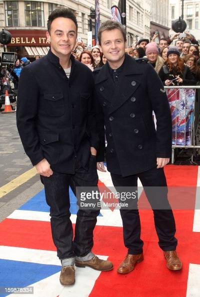Anthony McPartlin and Declan Donnelly arrive for auditions for Britain's Got Talent at London Palladium on January 22 2013 in London England