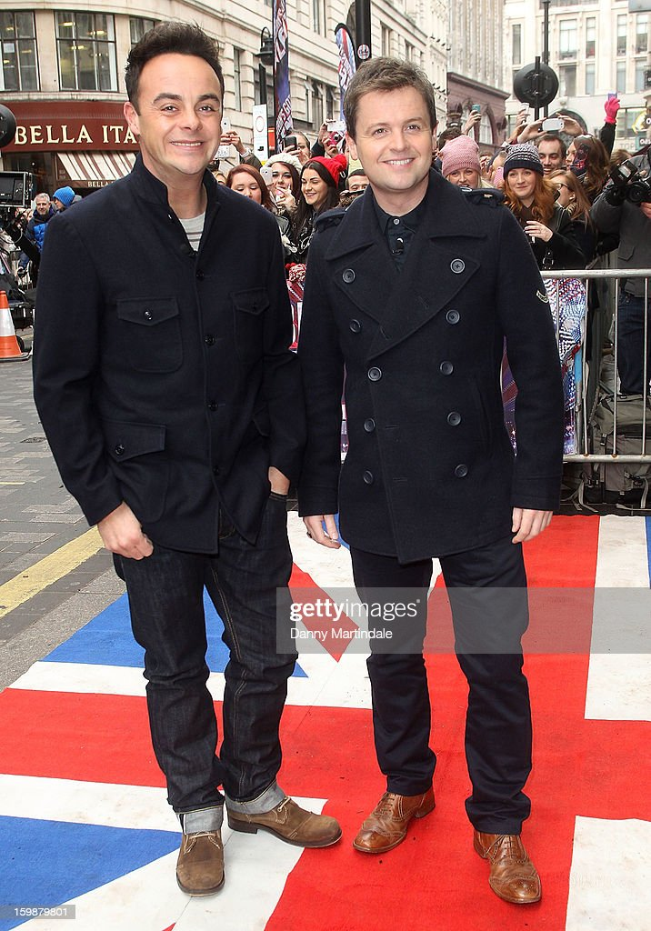 Anthony McPartlin and <a gi-track='captionPersonalityLinkClicked' href=/galleries/search?phrase=Declan+Donnelly&family=editorial&specificpeople=206200 ng-click='$event.stopPropagation()'>Declan Donnelly</a> arrive for auditions for Britain's Got Talent at London Palladium on January 22, 2013 in London, England.