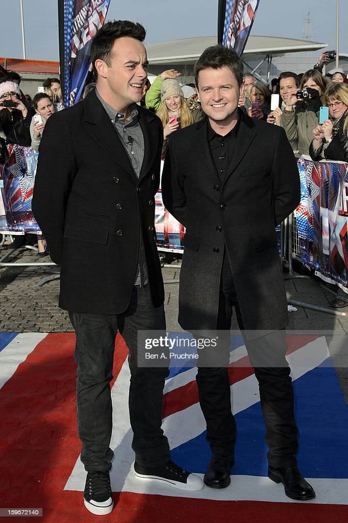 Anthony McPartlin and <a gi-track='captionPersonalityLinkClicked' href=/galleries/search?phrase=Declan+Donnelly&family=editorial&specificpeople=206200 ng-click='$event.stopPropagation()'>Declan Donnelly</a> arrives for the 1st day of judges auditions for 'Britain's Got Talent' at Millenium Centre on January 16, 2013 in Cardiff, Wales.