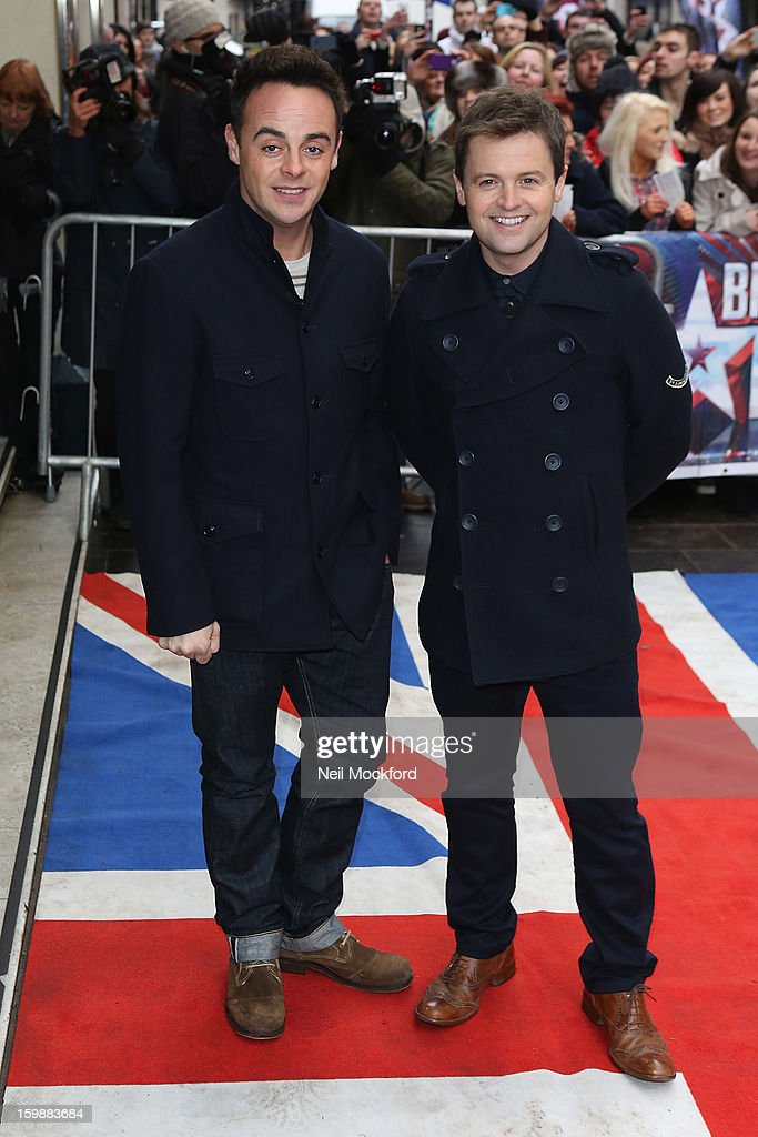 Anthony McPartlin and <a gi-track='captionPersonalityLinkClicked' href=/galleries/search?phrase=Declan+Donnelly&family=editorial&specificpeople=206200 ng-click='$event.stopPropagation()'>Declan Donnelly</a> arriving for 'Britain's Got Talent' London Auditions on January 31, 2013 in London, England.