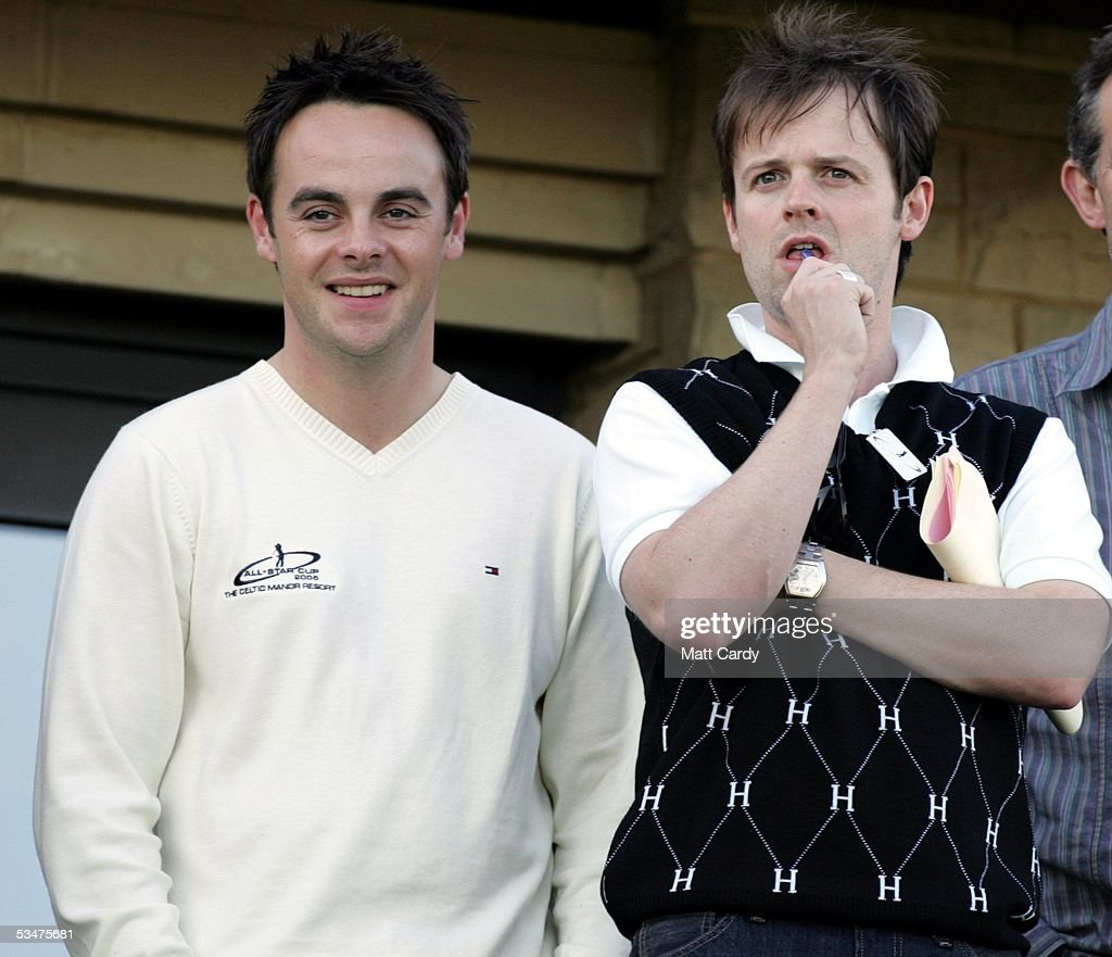 Anthony McPartlin (L) and Declan Donnelly (R) at The All-Star Cup Celebrity Golf tournament at the Celtic Manor Resort on August 28, 2005 Newport, Wales. The cup - the brainchild of Anthony McPartlin and Declan Donnelly - sees 2 teams of 10 celebrities from Europe and the US taking part over the Roman Road course, venue of the 2010 Ryder Cup, with Colin Montgomerie and Mark O?Meara as the non-playing captains of the European and US teams respectively. The cup will be presented by Kirsty Gallacher and Jamie Theakston.