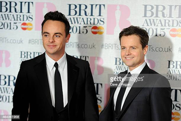 Anthony McPartlin and Declan Donnelly attend the BRIT Awards 2015 at The O2 Arena on February 25 2015 in London England