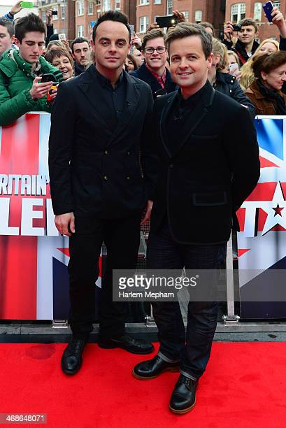 Anthony McPartlin and Declan Donnelly attend the London Auditions of Britain's Got Talent at Hammersmith Apollo on February 11 2014 in London England
