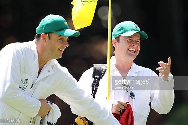 Anthony McPartlin and Declan Donnelly of the duo Ant and Dec take part in the Par 3 Contest prior the 2012 Masters Tournament at Augusta National...