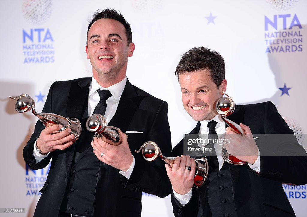 Anthony McPartlin and <a gi-track='captionPersonalityLinkClicked' href=/galleries/search?phrase=Declan+Donnelly&family=editorial&specificpeople=206200 ng-click='$event.stopPropagation()'>Declan Donnelly</a> pose in the winners room at the National Television Awards at the 02 Arena on January 22, 2014 in London, England.