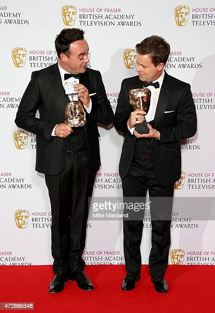 Anthony McPartlin and Declan Donnelly pose in the winners room at the House of Fraser British Academy Television Awards at Theatre Royal on May 10...
