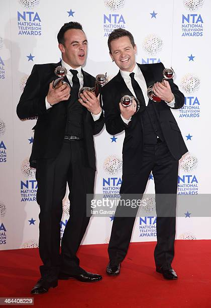 Anthony McPartlin and Declan Donnelly pose with their Landmark award and Best Entertainment Presenters award during the National Television Awards at...