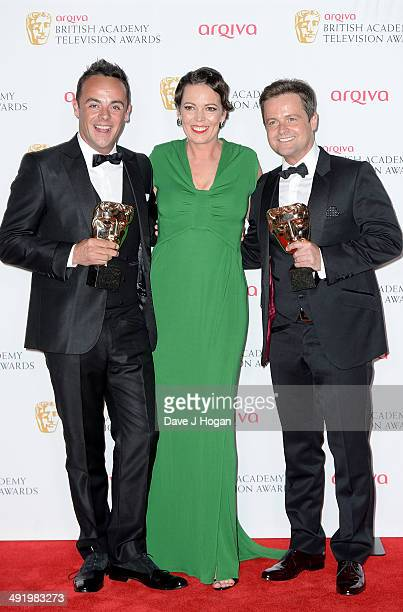 Anthony McPartlin and Declan Donnelly winners of Entertainment Programme award for Ant Dec's Saturday Night Takeaway and Olivia Colman attend the...