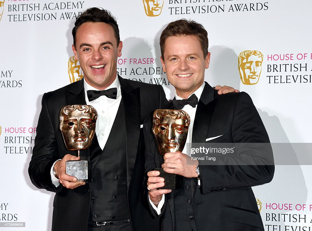 Anthony McPartlin and Declan Donnelly winners of Entertainment Performance pose in the winners room at the House of Fraser British Academy Television Awards at Theatre Royal on May 10, 2015 in London, England.