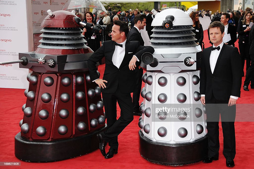 Anthony McPartlin and <a gi-track='captionPersonalityLinkClicked' href=/galleries/search?phrase=Declan+Donnelly&family=editorial&specificpeople=206200 ng-click='$event.stopPropagation()'>Declan Donnelly</a> with Daleks attends the Arqiva British Academy Television Awards 2013 at the Royal Festival Hall on May 12, 2013 in London, England.