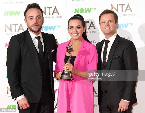 Anthony McPartlin Declan Donnelly and Scarlett Moffatt pose in the Winners Room during the National Television Awards at The O2 Arena on January 25...