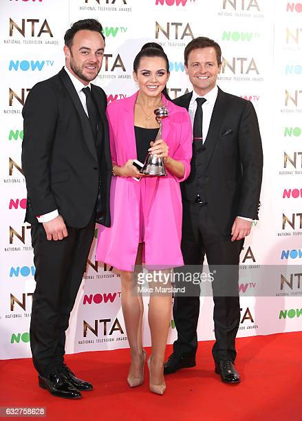 Anthony McPartlin Declan Donnelly and Scarlett Moffatt poses in the winners room at the National Television Awards at The O2 Arena on January 25 2017...