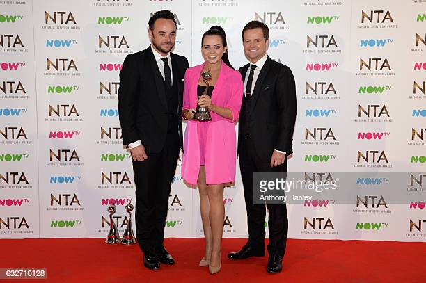 Anthony McPartlin Declan Donnelly and Scarlett Moffatt with the Best Challenge Show award for I'm a Celebrity Get Me Out of Here on stage during the...