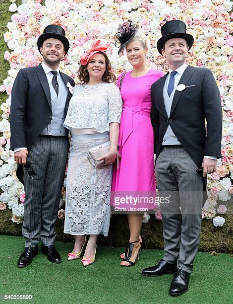 Anthony McPartlin Lisa Armstrong Ali Astall and Declan Donnelly arrive for the second day of Royal Ascot at Ascot Racecourse on June 15 2016 in Ascot...