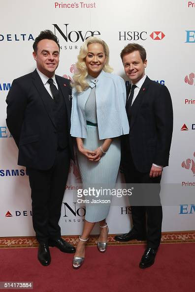 Anthony McPartlin Rita Ora and Declan Donnelly attend The Prince's Trust Celebrate Success Awards at London Palladium on March 7 2016 in London...