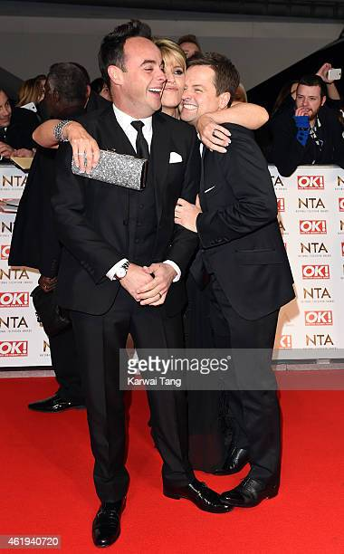 Anthony McPartlin Ruth Langsford and Declan Donnelly attend the National Television Awards at 02 Arena on January 21 2015 in London England