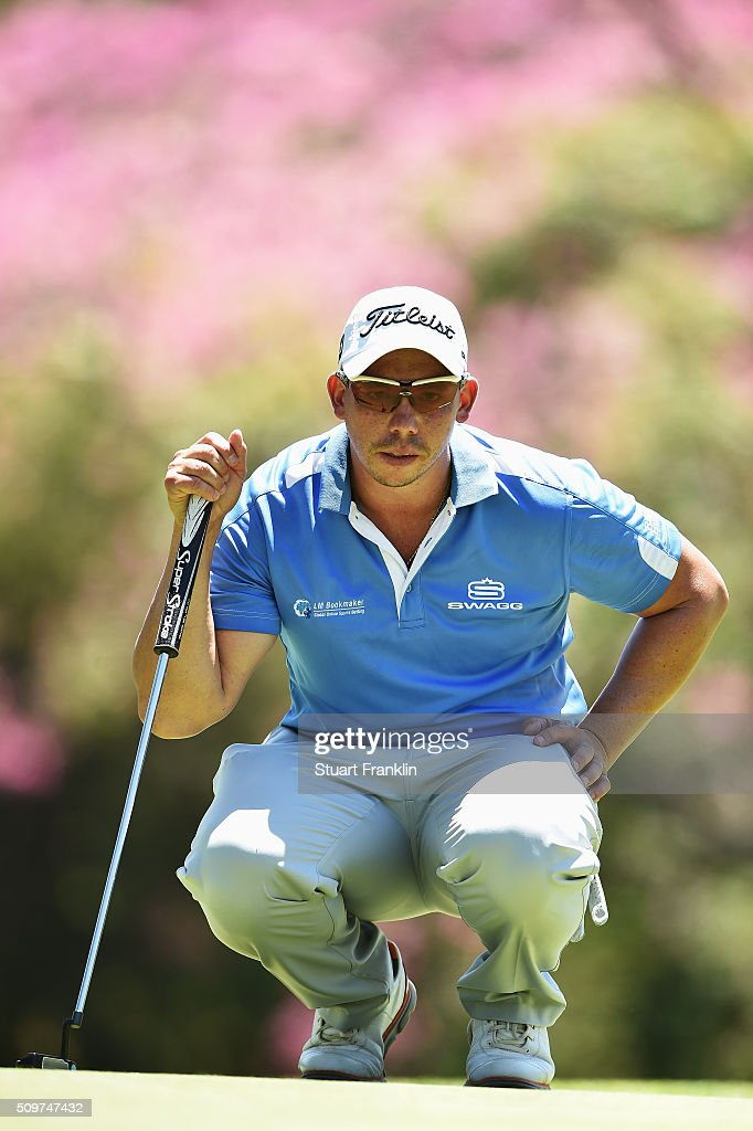 Anthony Michael of South Africa lines up a putt during the second round of the Tshwane Open at Pretoria Country Club on February 12, 2016 in Pretoria, South Africa.