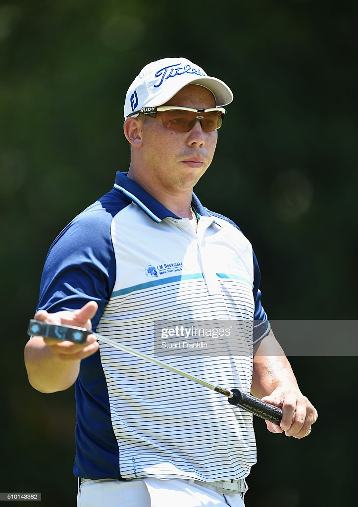 Anthony Michael of South Africa looks on during the final round of the Tshwane Open at Pretoria Country Club on February 14, 2016 in Pretoria, South Africa.