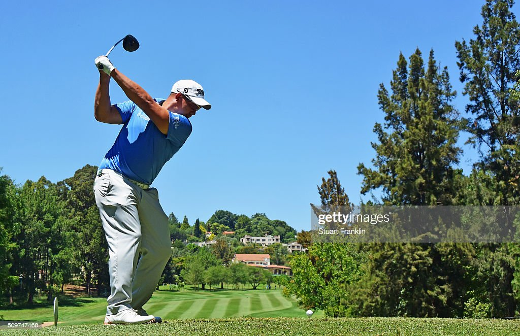 Anthony Michael of South Africa plays a shot during the second round of the Tshwane Open at Pretoria Country Club on February 12, 2016 in Pretoria, South Africa.