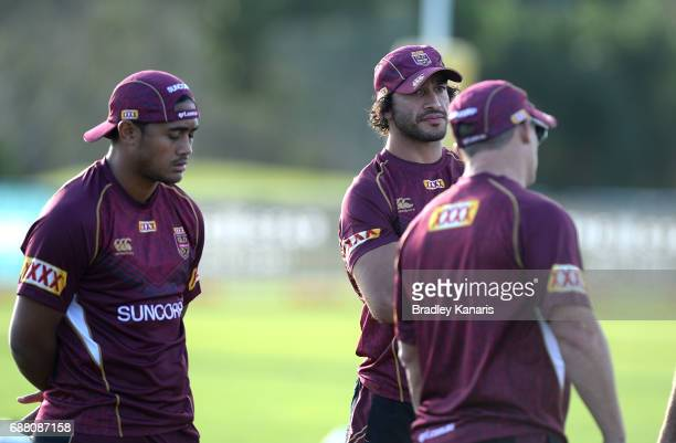 Anthony Milford and Johnathan Thurston are seen during a Queensland Maroons State of Origin training session at InterContinental Sanctuary Cove...