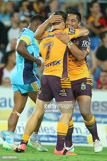 Anthony Milford of the Broncos celebrates a try during the round five NRL match between the Gold Coast Titans and the Brisbane Broncos at Cbus Super...