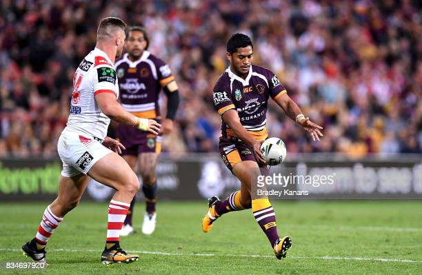 Anthony Milford of the Broncos kicks the ball during the round 24 NRL match between the Brisbane Broncos and the St George Illawarra Dragons at...
