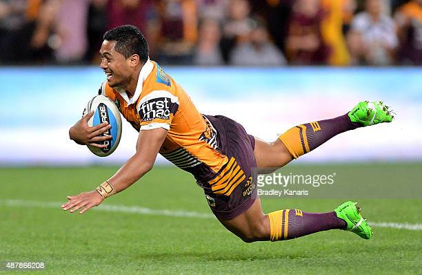 Anthony Milford of the Broncos scores a try during the NRL Qualifying Final match between the Brisbane Broncos and the North Queensland Cowboys at...