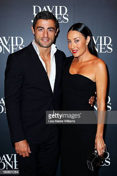 Anthony Minicello and Terry Biviano arrive at the David Jones A/W 2013 Season Launch at David Jones Castlereagh Street on February 6 2013 in Sydney...