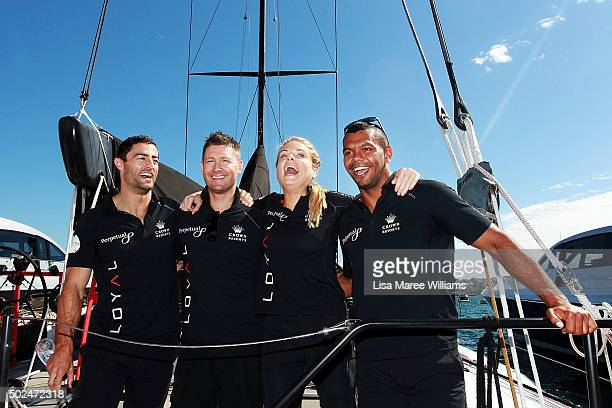 Anthony Minichello Michael Clarke Erin Molan and Kurtley Beale onboard Perpetual LOYAL during their Boxing Day Bon Voyage at Rose Bay Marina on...