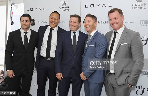 Anthony Minichiello Geoff Huegill Karl Stefanovic Michael Clarke and Anthony Bell attend the 2015 Loyal Foundation Sportsman's Lunch at Darling...