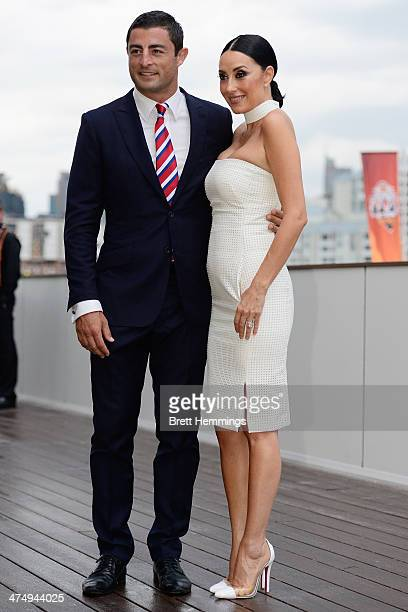 Anthony Minichiello of the Roosters and his wife Terry Biviano pose for a photo during the 2014 NRL official season launch at Sydney Exhibition...